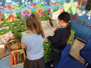 We are learning to write independently on our new dinosaur writing area.