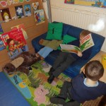 We like to read books in the Reading Area and find out about dinosaurs!